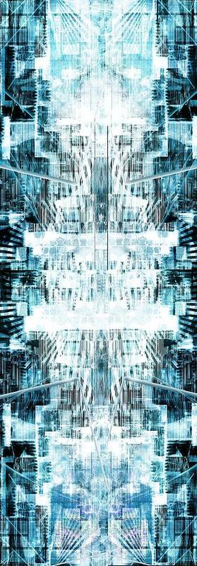 Abstract Poster featuring the mixed media In A Blue Dream... by Art Di