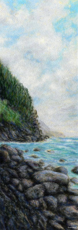 Rainbow Colors Pastel Poster featuring the painting Ke'e Rocks by Kenneth Grzesik