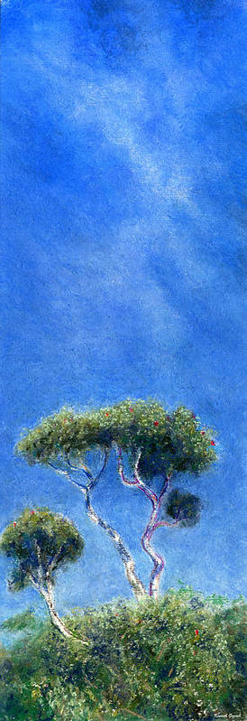 Rainbow Colors Pastel Poster featuring the painting Kokee Trees by Kenneth Grzesik