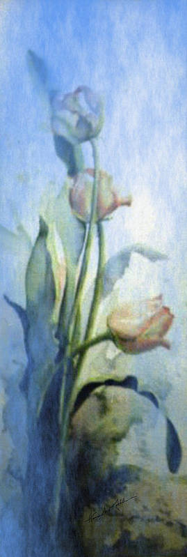 Tulips Poster featuring the painting Moody Tulips by Hanne Lore Koehler