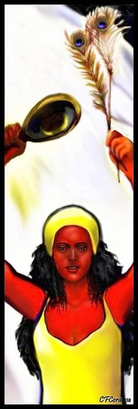 Oshun Poster featuring the digital art Ochun -the Goddess Of Love And Beauty by Carmen Cordova