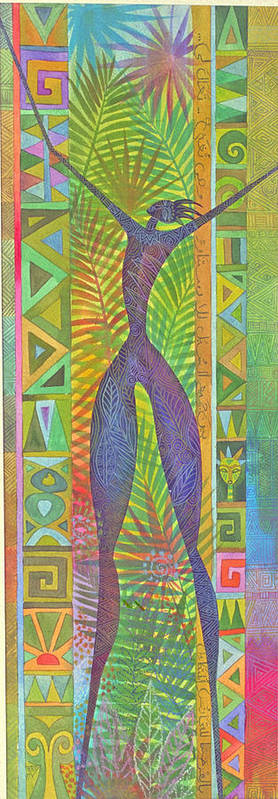 Tropical Spiritual Exotic Joy Figure Patterns Poster featuring the painting Oh What Joy by Jennifer Baird