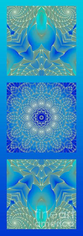 Hanza Turgul Poster featuring the digital art Blue Space Flower by Hanza Turgul