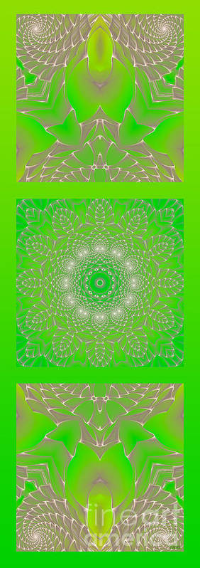 Hanza Turgul Poster featuring the digital art Green Space Flower by Hanza Turgul