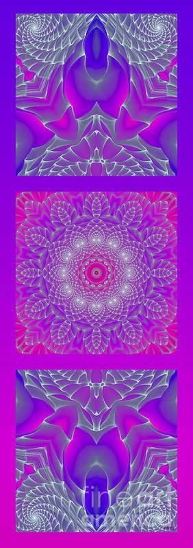 Hanza Turgul Poster featuring the digital art Purple Space Flower by Hanza Turgul
