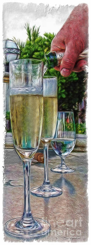 Champagne At The Beach Poster featuring the photograph Champagne At The Beach by Joan Minchak