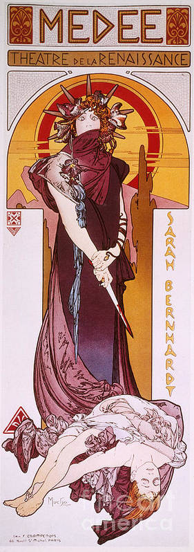 1898 Poster featuring the photograph Sarah Bernhardt by Granger