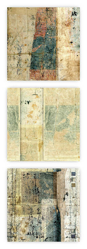 Japan Poster featuring the mixed media Kimono Triptych 060704 Vertical by Carol Leigh