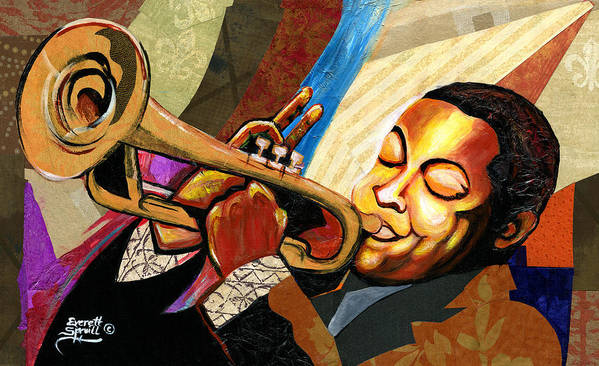 Everett Spruill Poster featuring the painting Wynton Marsalis by Everett Spruill