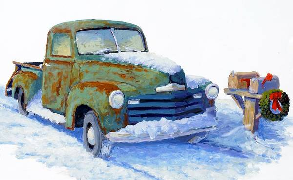 Old Truck Poster featuring the painting Jingle Bells by Bob Adams