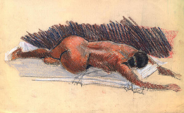 Woman Nude Life Drawing Pastel Paper Poster featuring the drawing Nude Woman 09 by Nelson Caramico