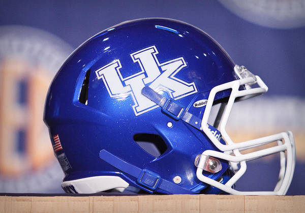 Ncaa Poster featuring the photograph Kentucky Wildcats Football Helmet by Icon Sports Media
