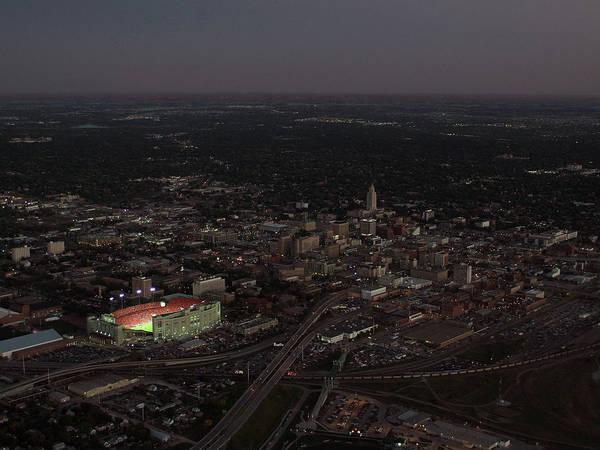 Memorial Stadium Poster featuring the photograph Nebraska Memorial Stadium And Campus by PRANGE Aerial Photography