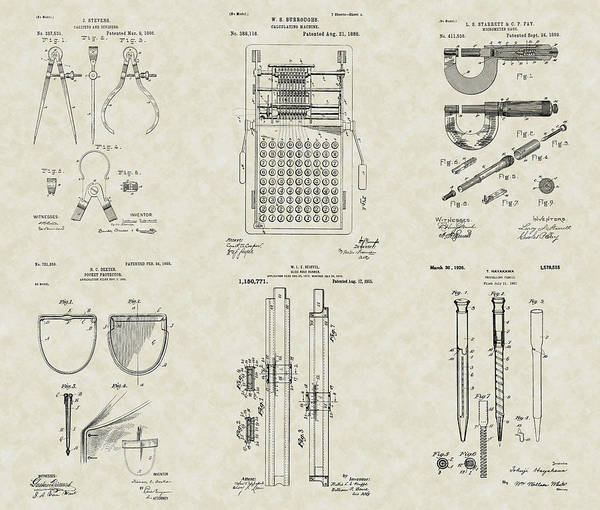 Engineer Tools Poster featuring the drawing Engineering Tools Patent Collection by PatentsAsArt
