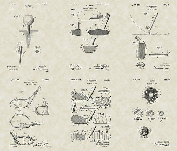 Golf Poster featuring the drawing Golf Patent Collection by PatentsAsArt
