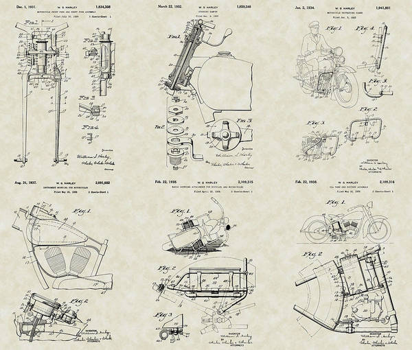 Motorcycle Poster featuring the drawing Harley-davidson Motorcycle Patent Collection by PatentsAsArt