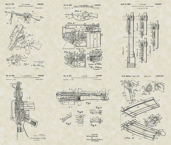 M-16 Poster featuring the drawing M-16 Military Rifle Patent Collection by PatentsAsArt