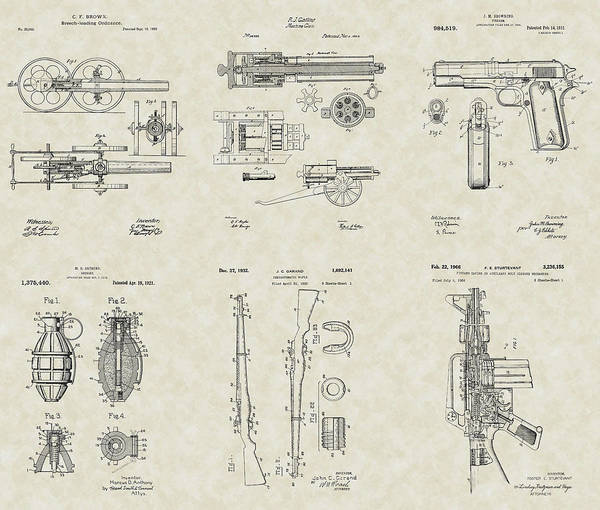Military Poster featuring the drawing Military Equipment Patent Collection by PatentsAsArt