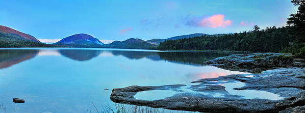 Nature Poster featuring the photograph Eagle Lake Maine - Panoramic View by Thomas Schoeller