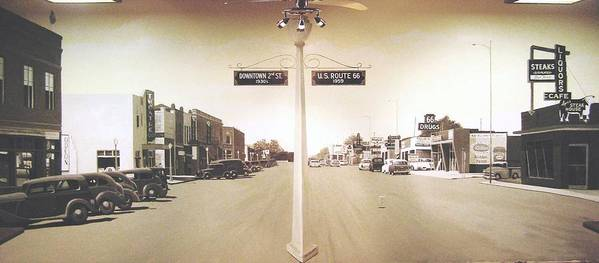 Mural Poster featuring the painting 2nd St. 1930 And Route 66 1950 by Doug Quarles