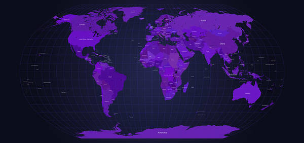 Map Poster featuring the digital art World Map In Purple by Michael Tompsett