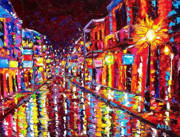 New Orleans Hot Night Bourbon Street by Elaine Cummins