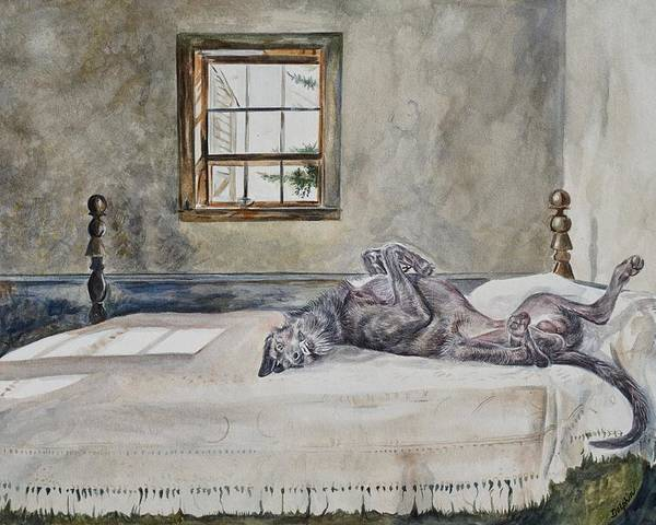 Deerhound on Bed by Gail Dolphin