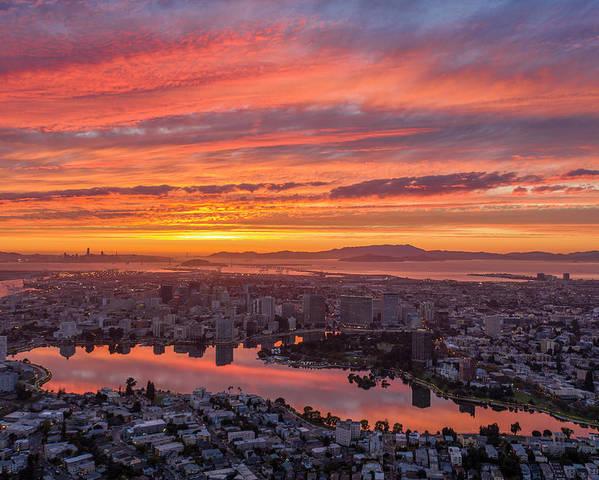 Sunset Explosion over Lake Merritt by Sky High Oakland