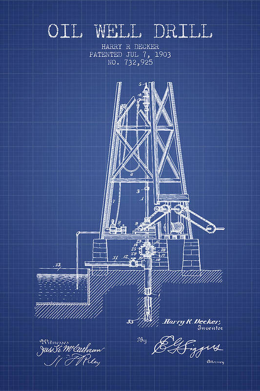Oil Well Drill Patent From 1903 - Blueprint by Aged Pixel