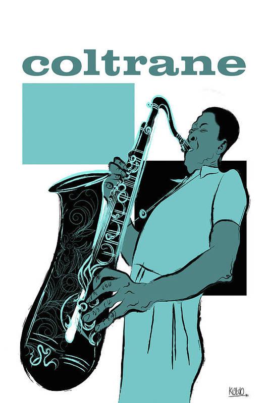 John Coltrane Poster featuring the digital art John Coltrane by Koldo Barroso