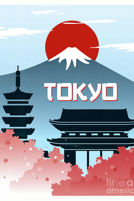 Tokyo vintage poster travel by Pablo Romero