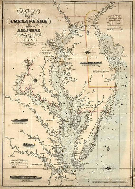 1862 Chesapeake Bay Map by Dan Sproul