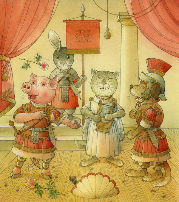 Opera Singer Animals Cat Pig Dog Rabbit Giulio Cesare Poster featuring the painting Opera by Kestutis Kasparavicius
