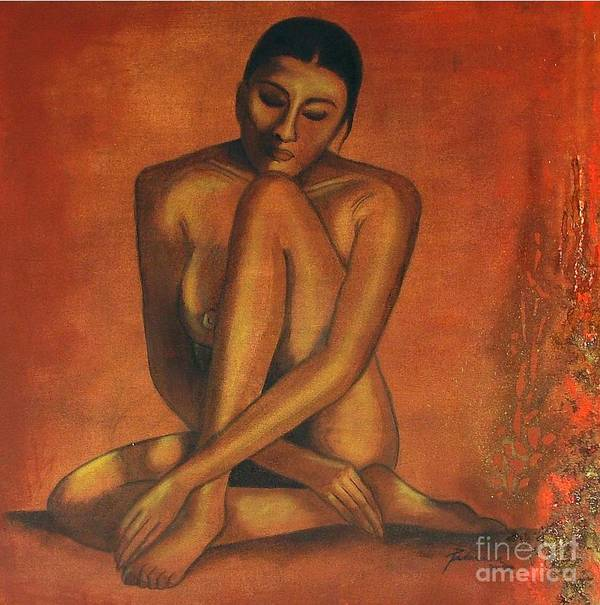Figurative Poster featuring the painting My Solitude by Padmakar Kappagantula