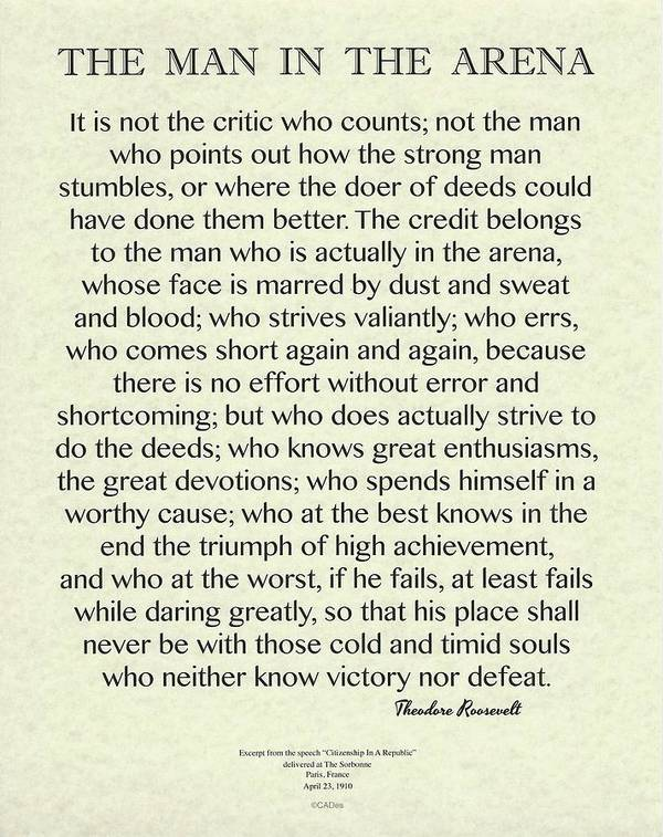 The Man In The Arena on Antique Parchment Roosevelt Quote by Desiderata Gallery