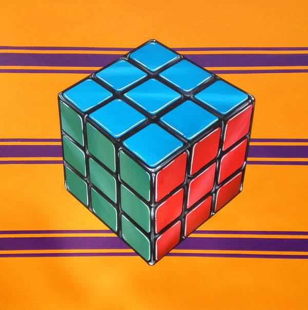 Rubiks Cube Poster featuring the painting Rubiks by Anthony Mezza