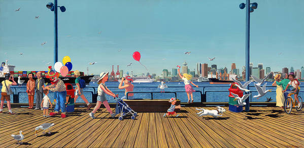 People Poster featuring the painting Sunday Morning Lonsdale Quay by Neil Woodward