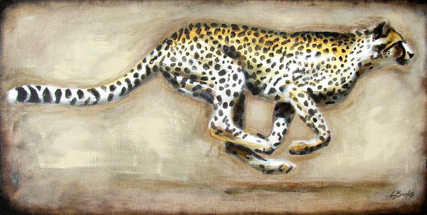 Running Cheetah Poster featuring the painting Chase by Leigh Banks