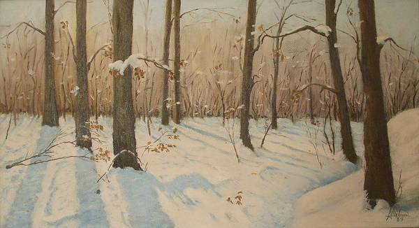 Snow Poster featuring the painting Snow On The Wood by Anthony Meton