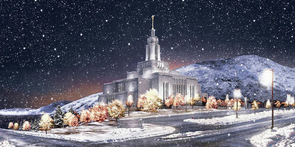 Draper Poster featuring the painting Draper Temple - First Snowfall by Brent Borup