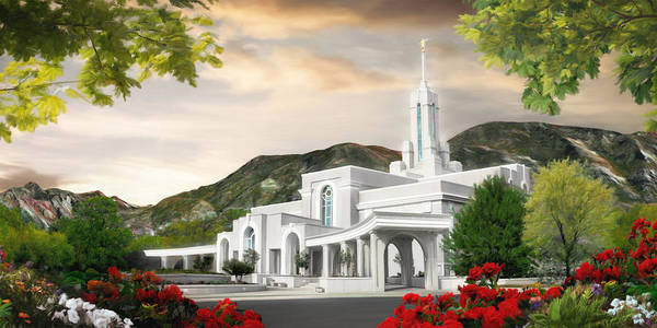 Mount Poster featuring the painting Mt. Timpanogos Temple #1 by Brent Borup