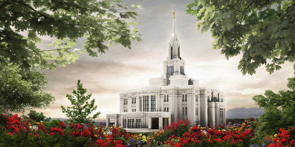 Payson Poster featuring the painting Payson Temple by Brent Borup