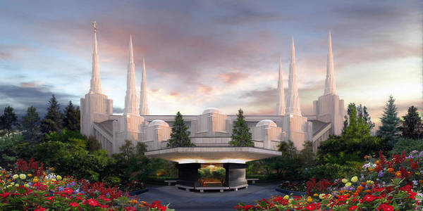 Portland Poster featuring the painting Portland Temple by Brent Borup