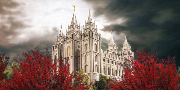 Salt Lake Poster featuring the painting Salt Lake Temple - A Light in the Storm by Brent Borup