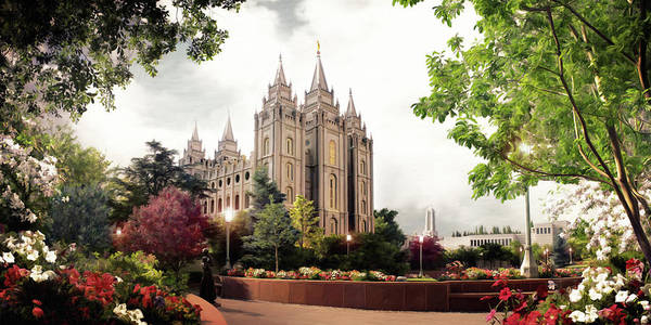 Salt Lake Poster featuring the painting Salt Lake Temple - Summer by Brent Borup