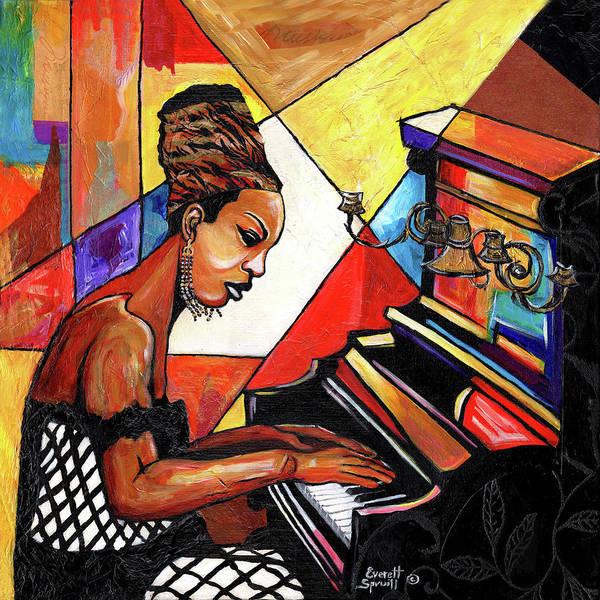 Everett Spruill Poster featuring the mixed media Nina Simone by Everett Spruill