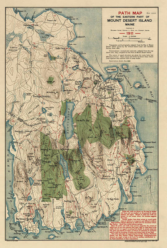 Antique Map of Mount Desert Island - Acadia National Park - by Waldron Bates - 1911 by Blue Monocle