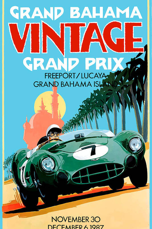 1987 Grand Bahama Vintage Grand Prix Race Poster by Retro Graphics