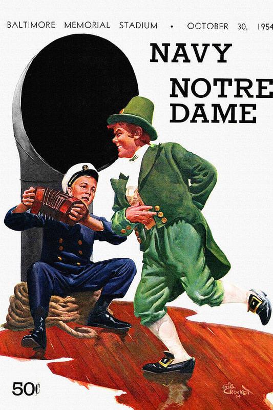 Notre Dame V Navy 1954 Vintage Program by John Farr