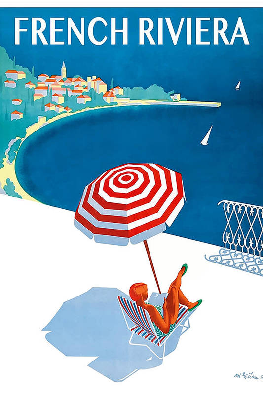 1954 French Riviera Travel Poster by Retro Graphics